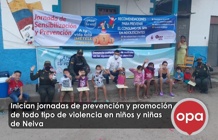 Inician jornadas de prevención y promoción de todo tipo de violencia en niños y niñas de Neiva