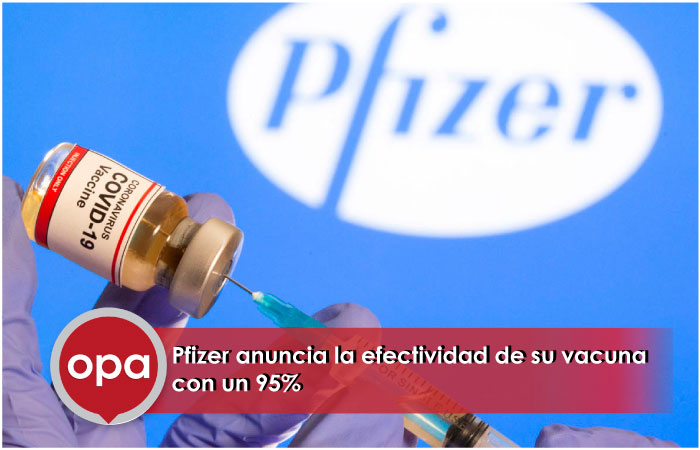 Pfizer anuncia la efectividad de su vacuna con un 95%